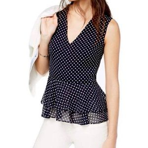 NWT J Crew Star Print Sleeveless Peplum Blouse
